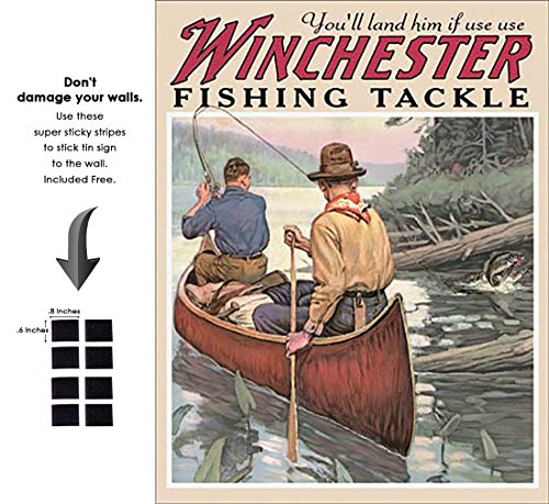 Shop72 - Winchester Fishing Tackle Tin Sign Retro Vintage Distrssed - with Sticky Stripes No Damage to Walls ()