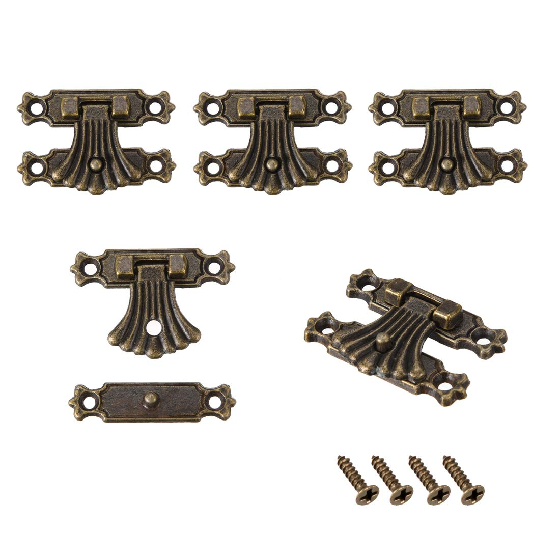 uxcell 2 Sets Wood Case Chest Box Rectangle Clasp Closure Hasp Latches Bronze Tone 37 x 27mm