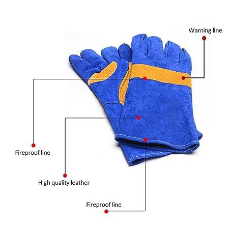 guantes de soldadura de cuero resistente al calor guantes de protección ignífugos mitones con manga larga para herrero tig mig soldador bbq parrilla horno ...