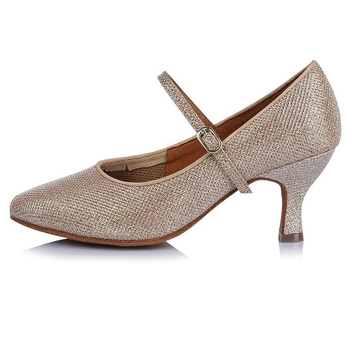 YFF Womens Modern Dance Shoes Ballroom Latin Tango Square heel Tanzschuhe, 63 mm Absatz 30604,4 LEIT