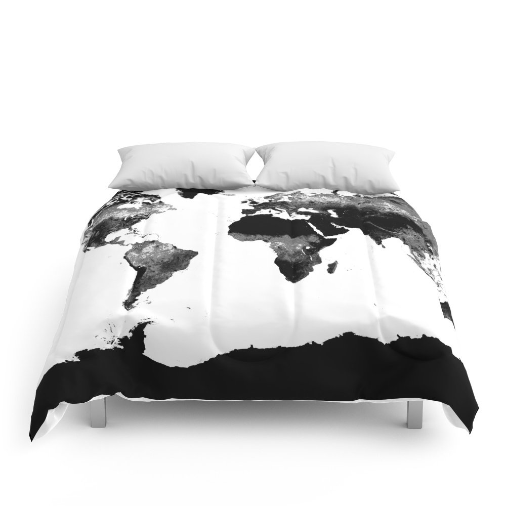 Society6 World Map Black & White Comforters Queen: 88'' x 88''