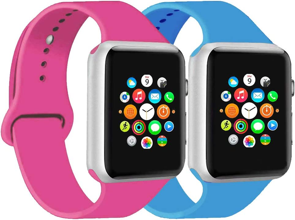 CoJerk Compatible for Apple Watch Band 38mm 40mm 42mm 44mm,Replacement Band for iWatch Series 5/4/3/2/1 (Barbie Pink+Blue, 42mm/44mm-sm)