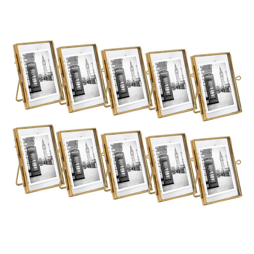 Isaac Jacobs 2x3 (10-Pack), Antique Gold, Vintage Style Brass and Glass, Metal Floating Desk Photo Frame (Vertical), with Locket Closure for Pictures, Art, More
