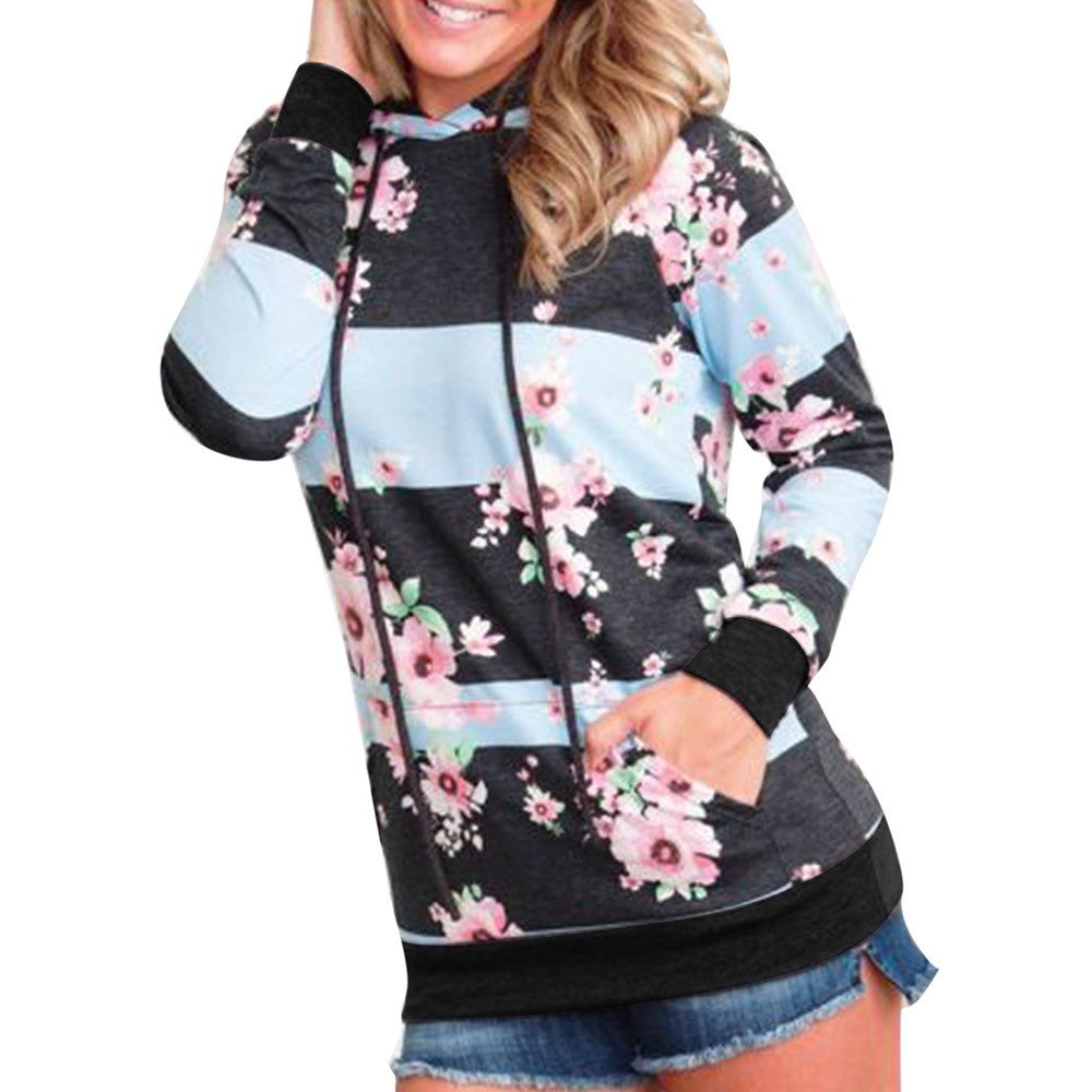 Women Plus Size Floral Striped Splice Sweatshirt Long Sleeve Hoodie Casual Top iQKA0726