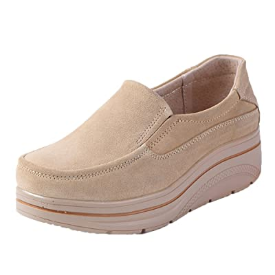 Karen Aon Women Platform Slip On Loafers Comfort Suede Moccasins Wide Low Top Wedge Shoes   Loafers & Slip-Ons