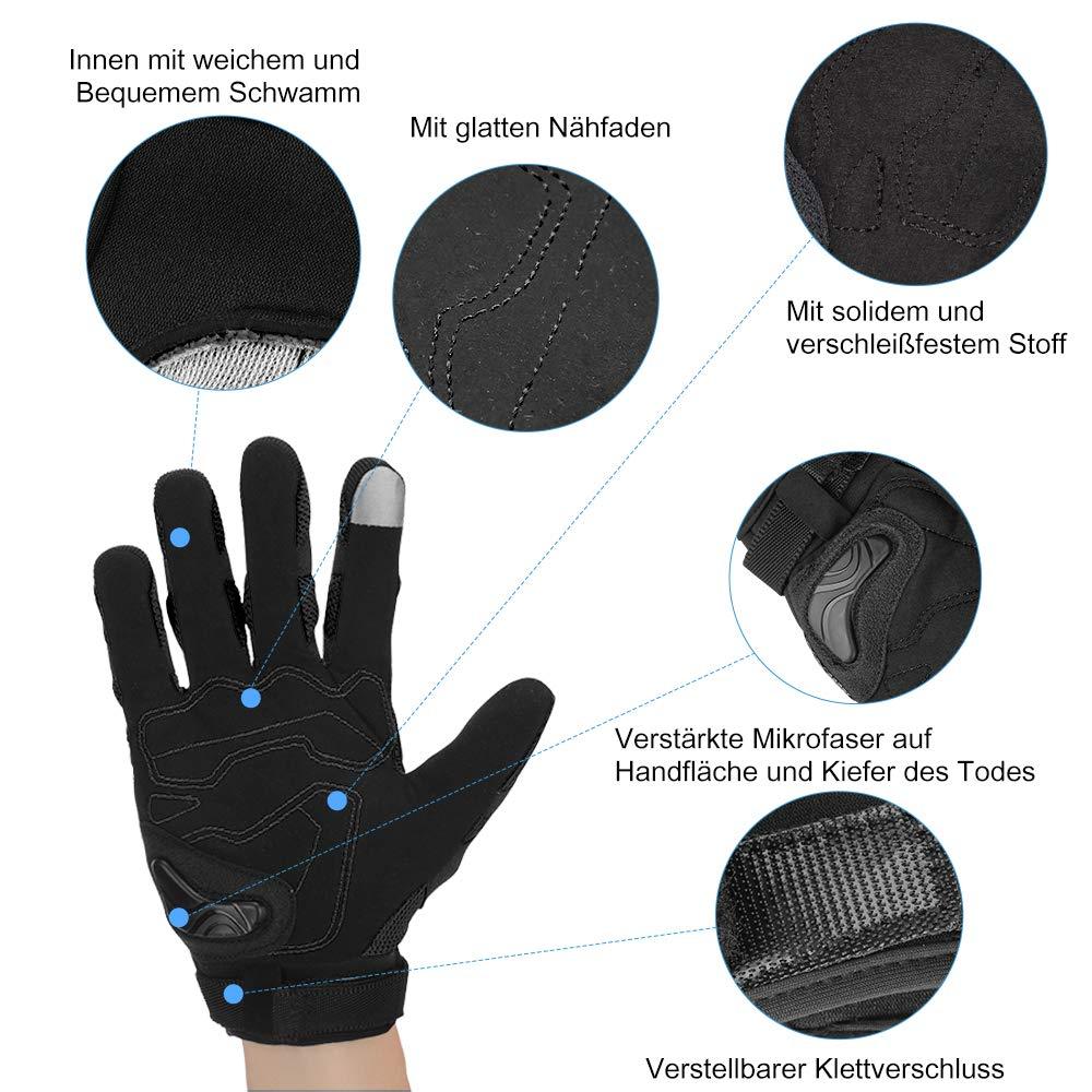 Motorrad Handschuhe Sport Handschuhe Touchscreen Handschuhe Warm Atmungsaktiv Anti RutschFahrad Handschuhe Sommerhandschuhen Ideal f/ür Motorrad Radfahren Camping Outdoor Schwarz XL