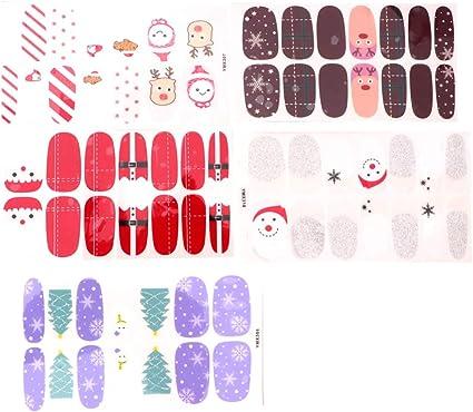 Lurrose 5 hojas de manicura de navidad envolturas de uñas ...