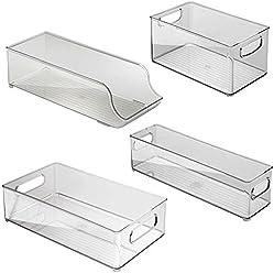 InterDesign 4 Piece USA Made Stackable Kitchen Transparent Storage Organizer Bins for Fridge, Freezer, Pantry and Cabinet Organization