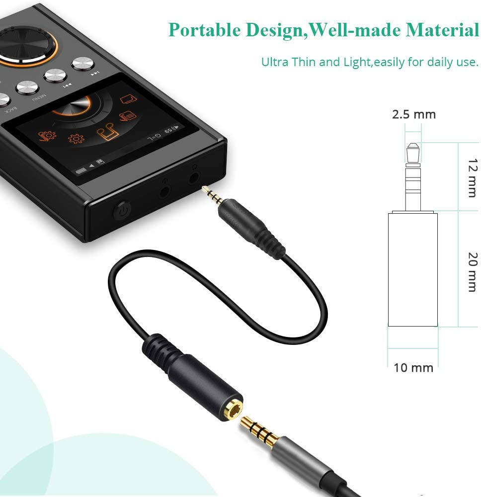 4 Poles Stereo Cable Support Mic//Headphone Function 1//8 inch Electop Upgraded 2.5mm Male to 3.5mm Female Converter Headphone Audio Extension Cable