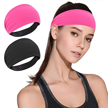 DINIGOFIN Wide Sports Headbands for Women Non Slip Fitness Headband-Moisture Wicking Sweatband for Workout,Yoga,Running and Athletic