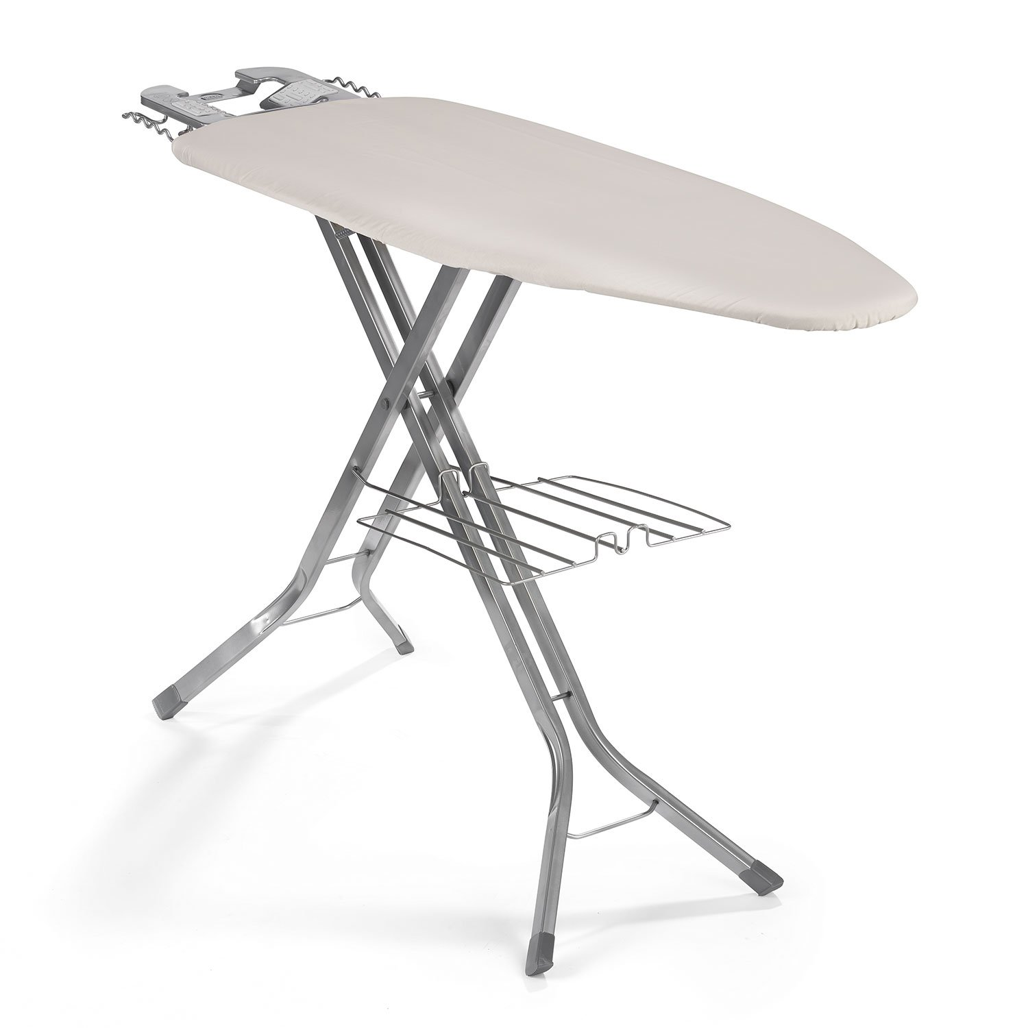 Polder IB-5119RM Oversized 51'' x 19'' Ultimate Ironing Board Station with Built-in Iron Rest, Garment Shelf, Thick Pad and 100% Cotton Cover, Natural