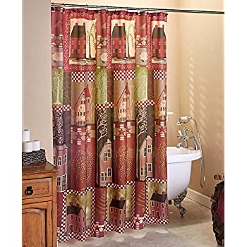 The Lakeside Collection Home Sweet Fabric Shower Curtain Country House Primitive Rustic Decor