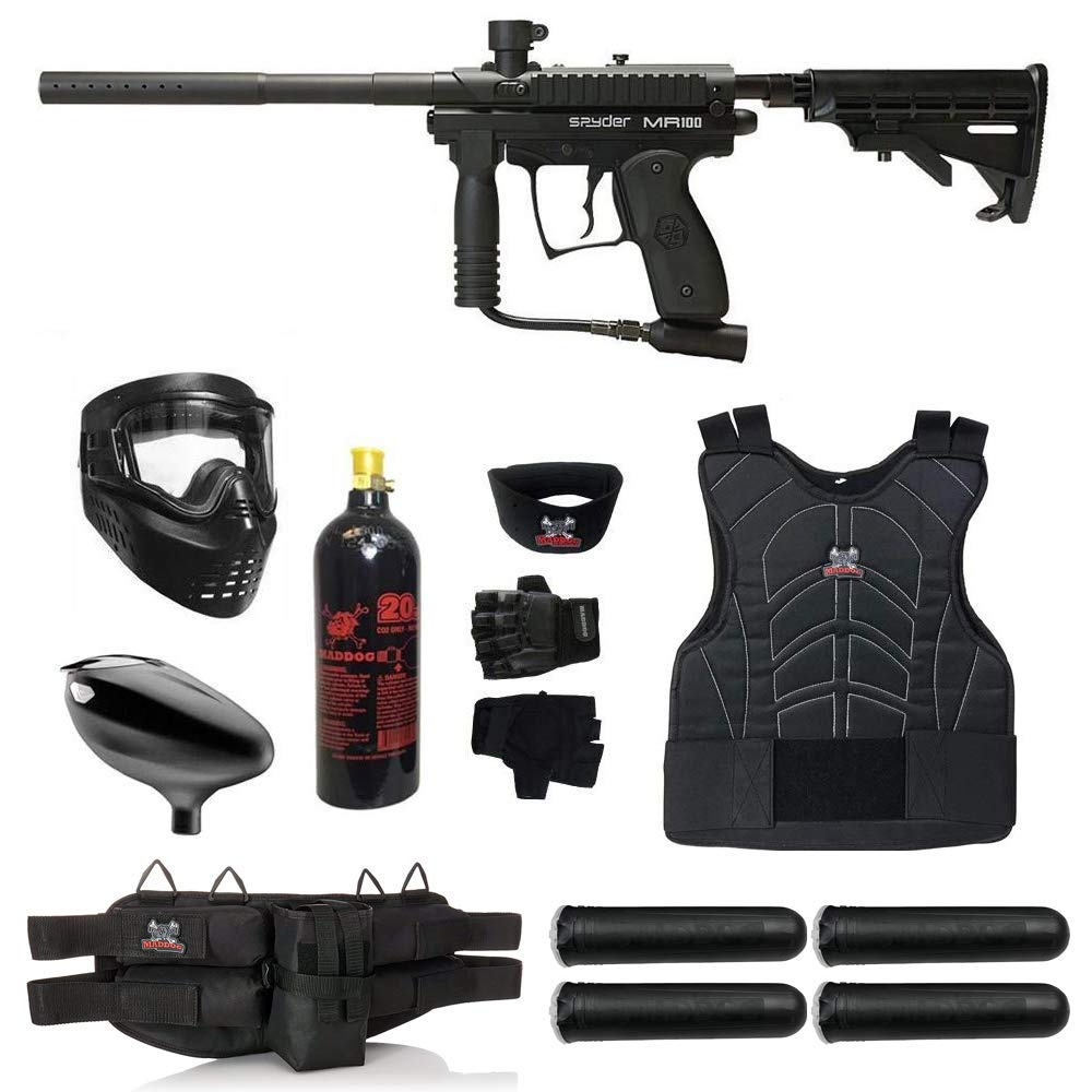 MAddog Spyder MR100 Pro Starter Protective CO2 Paintball Gun Package - Black