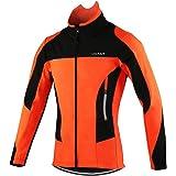 Lixada Hommes Cyclisme Veste Thermique Respirant Cyclisme Vêtements Ensembles Long Manches Veste Imperméable + Pantalon de Vélo Pantalon (Optionnel)