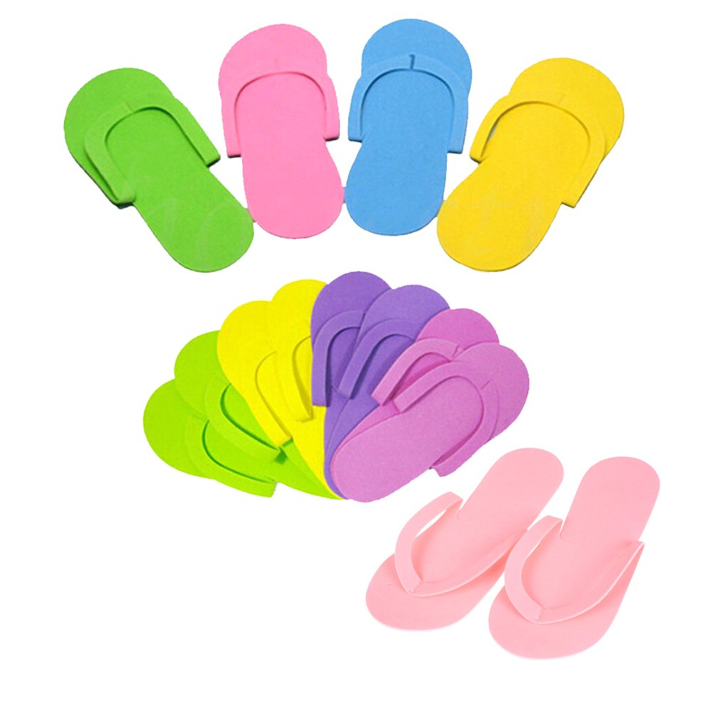SQingYu 12 Pairs Colorful Disposable Foam Nail Art Slipper EVA Line Spa Slippers, Nail Tools Hotel Home Travel Portable Flip Flop Rain buds