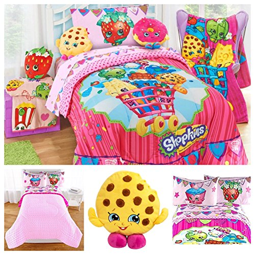 Shopkins Kids Complete Bedding Comforter Set with Scented Pillow Toy - Full by Moose Shopkins