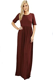 dfe323ee6ac53a Zenana Premium 7011 Casual Women s Long Maxi T-Shirt Dress with Half  Sleeves and Pockets