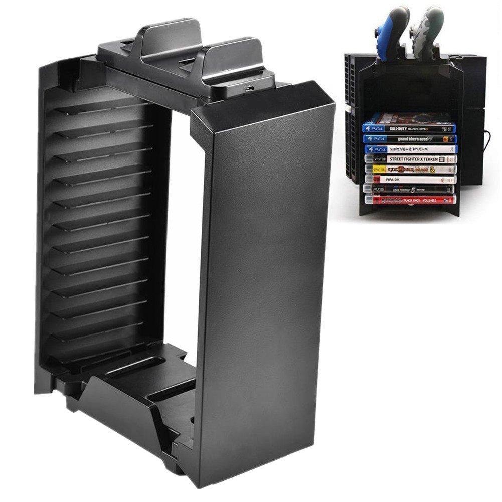 Vertical Console Stand Cooling Fan Game Disk Rack Holder for PS4 Slim PRO XboxONE S by Yosoo-
