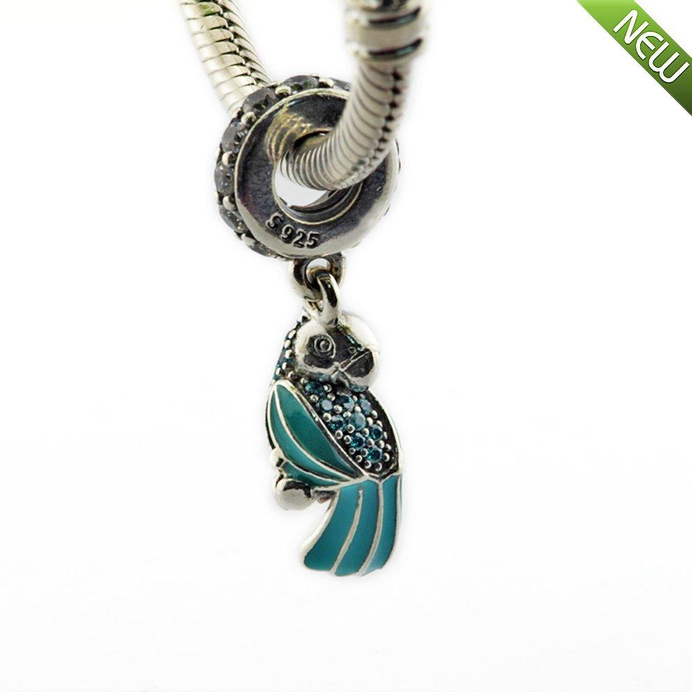 e040da336940 PANDOCCI Se adapta a Pandora pulsera y el collar del verano tropical del  loro colgante de grano del encanto de la joyería auténtica plata de ley 925  de ...