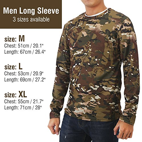 Vbestlife Men's Long Sleeve Camo T Shirts Cool Camo Hunting t Shirts for Men Casual Fitness Polyester Stretch Shirts Pocket Round Collar Tee T-Shirt M, L, XL(XL)