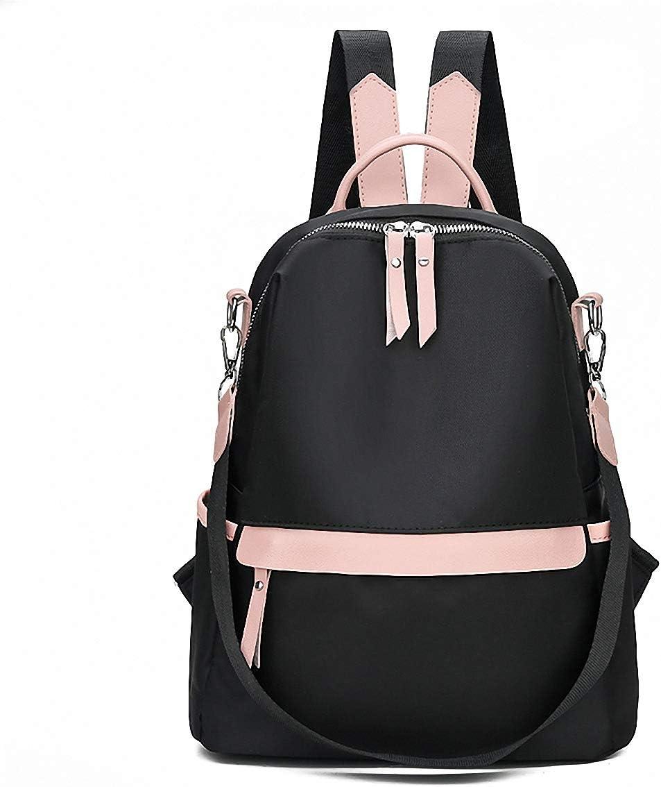 GuaziV Backpack Purse for Women Nylon Anti-theft Waterproof Fashion Bag Lightweight School Shoulder Bags (Deep black 2)