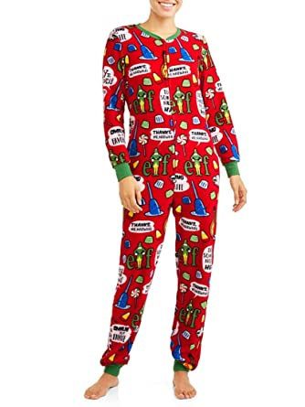 Elf Womens Christmas Union Suit Pajamas Drop Seat Pjs Lounge Red at ... c2aedc319