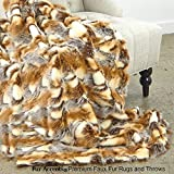 Sumptuous Luxury Faux Fur Throw Blanket - Designer Quality - Fur Accents - Made in America (40''x58'', Amber Patch Rabbit)