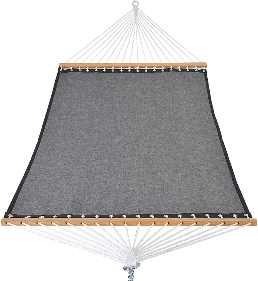 Patio Watcher 11 FT Quick Dry Hammock Bamboo Wood Spreader Bars Outdoor Patio Yard Poolside Hammock with Chain Hanging Kits and Hooks, Dark Gray Hammock Only