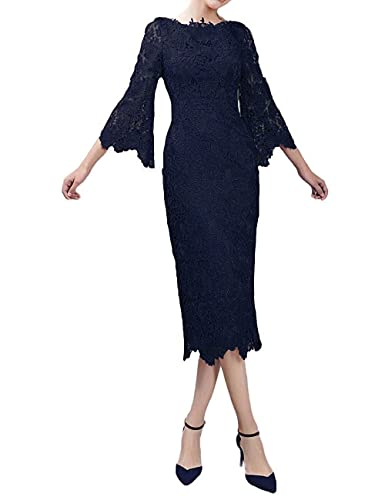LMBRIDAL Women's Lace Mother of the Bride Dress with Sleeves Tea Length WMD26