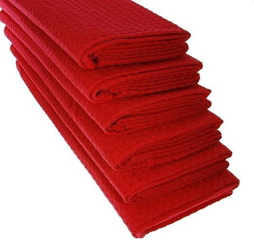 6 paños de cocina, algodón 100 %, piqué, color rojo: Amazon.es: Hogar