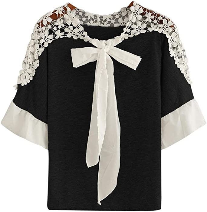 Han Shi Blouse, Women Lace Knit Cute Bow Tie Fashion Cool T-Shirt Casual Office Tops