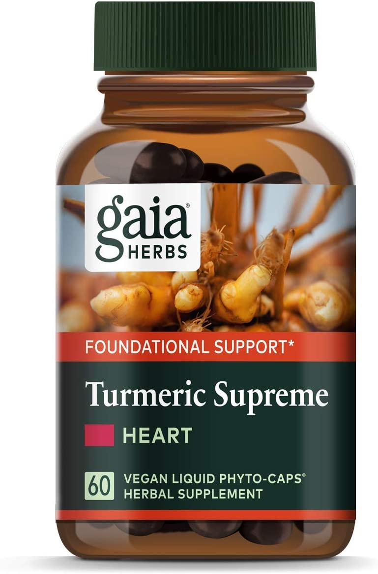 Gaia Herbs, Turmeric Supreme Heart, Turmeric Curcumin Supplement, Promotes Heart Health with Black Pepper, Resveratrol, Quercitin, Organic Hawthorn, Vegan Liquid Capsules, 60 Count