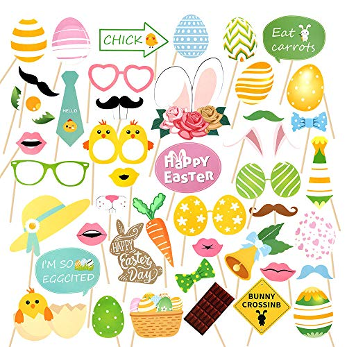 Jblcc Easter Photo Booth Props 44Pcs for Easter Event Party Favors and Easter Decorations Rabbit Colorful Egg Bunny Easter Photographing Party Favors Supplies]()