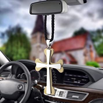 Cross 4 Various Men or Women Hanging Cross for Car or Truck Rearview Mirror or for Dressing or Home Decoration Fashion Personalized Car Rear View Mirror Pendant for Home Vehicle Interior Accessories