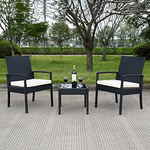 Amazon Tangkula 3 PCS Outdoor Rattan Patio Furniture Set