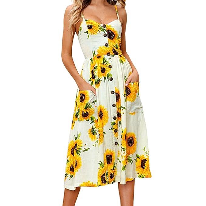 SotRong Vestidos de Verano Mujer Adolescentes Chica Vestidos Playeros Vintage Estampados Elegantes con Bolsillos Dress Playa