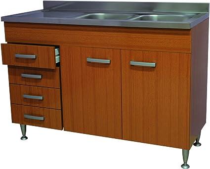 Mobile Cucina Teak 2 Ante Cassetti A Sx Completo Di Lavello Inox 120 Sottolavello Amazon It Casa E Cucina
