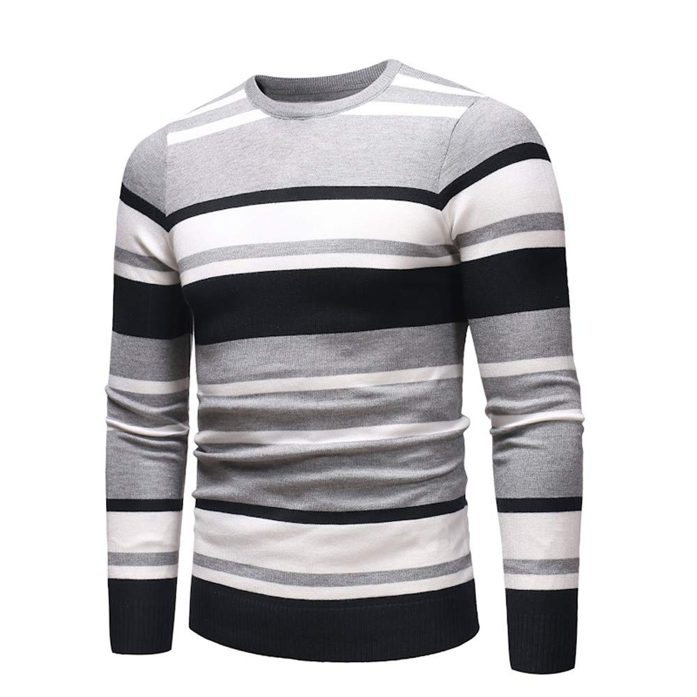Dacawin Fashion Casual Men's Long Sleeve Stripe Slim Comfort Sweater Pullover Jumper Knitwear Blouse by Dacawin (Image #2)