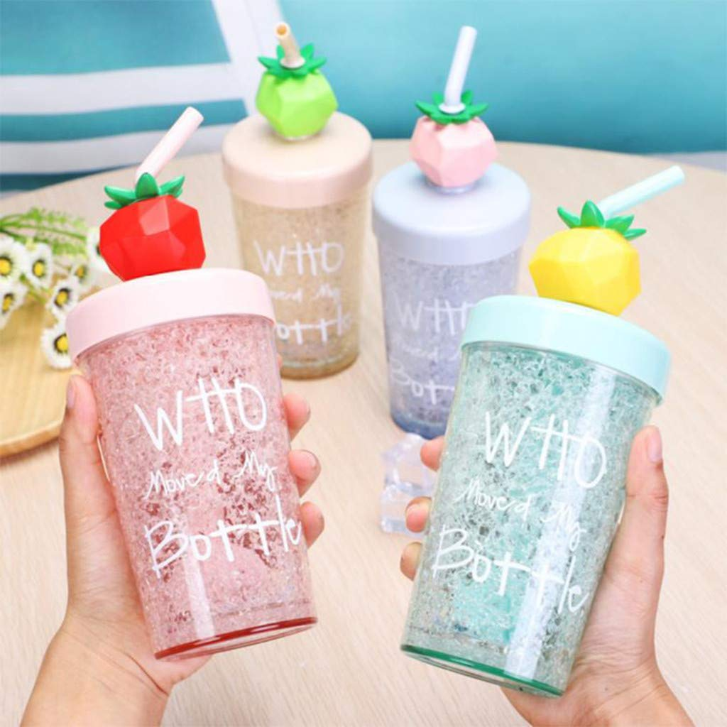 Straw Water Cup, Summer Fruit Ice Cup, Straw Plastic Gift Cup, Girl Child Juice Mixing Cup 270ml (B)