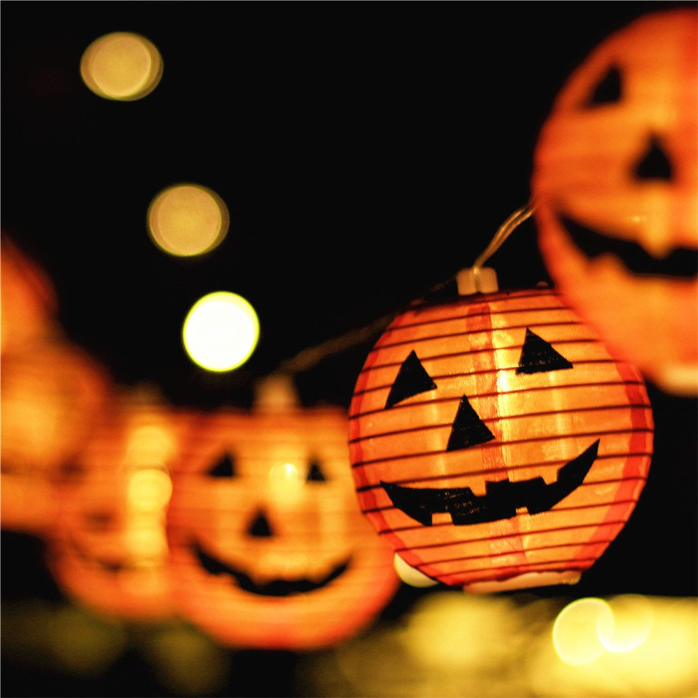 Halloween Lights,Makion Halloween Decorations Fairy Lights 2.5M/8.2FT 10 Led Pumpkin Lanterns Battery Powered String Lights