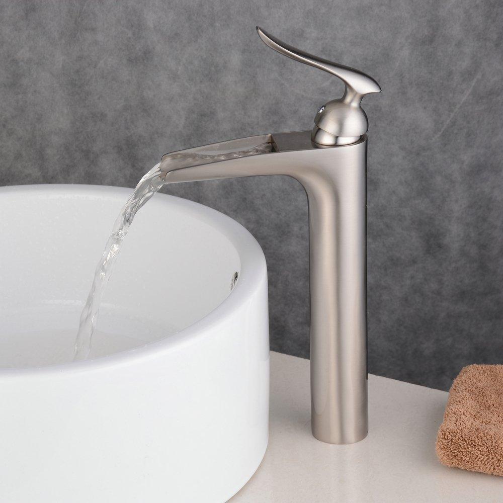 Beelee BL9009BH rubinetto antico singolo manico cascata alto lavello rubinetto bagno olio rubato finitura bronzo