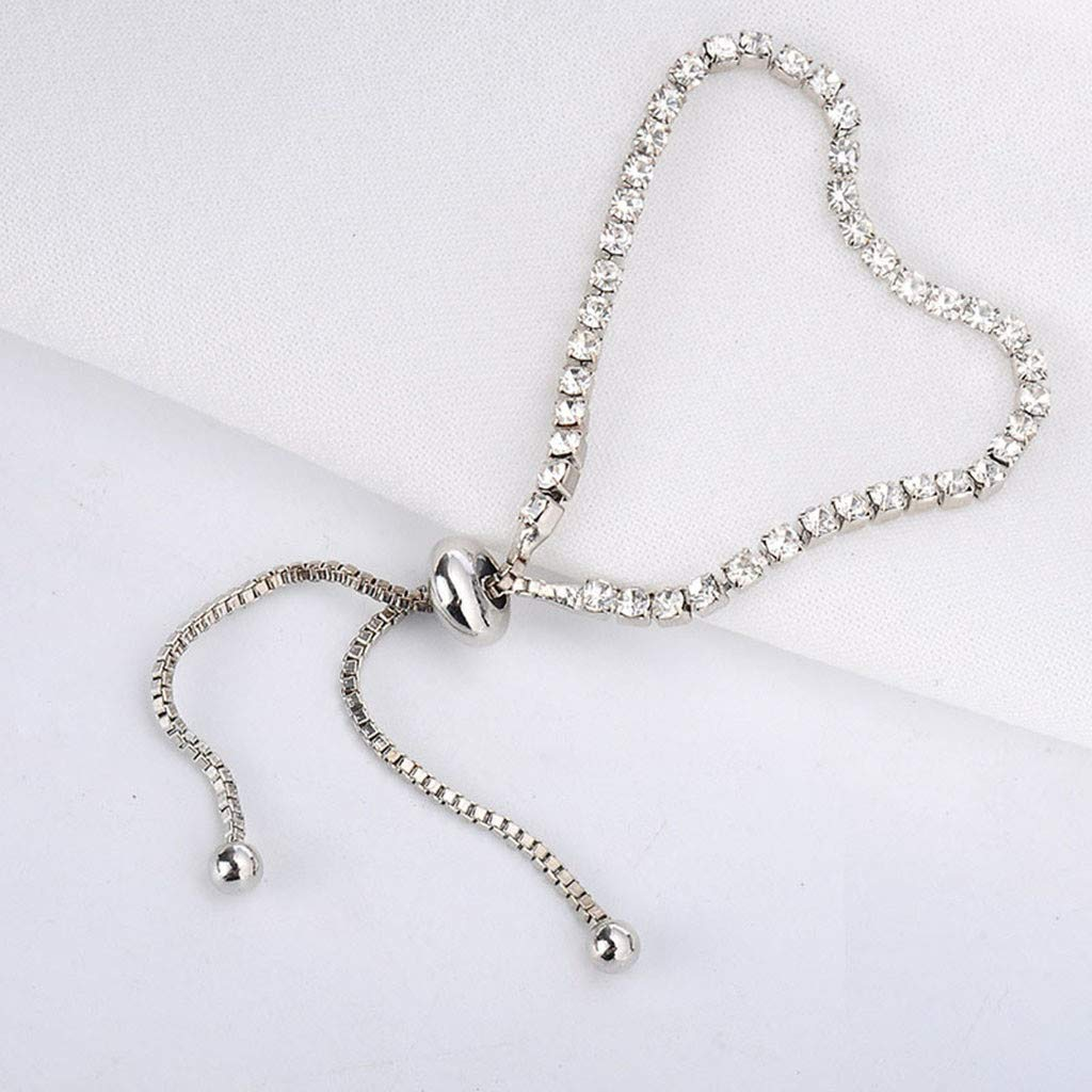 Toponly Jewelry Sets Fashion Popular Sleek Minimalist Diamond Rhinestone Bracelet Earrings Stud by Toponly (Image #3)