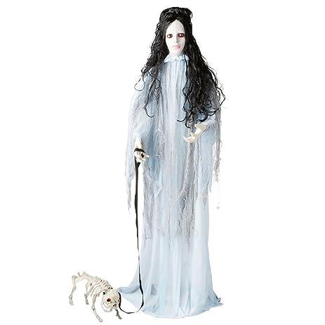 halloween animated lifesize desdemona the haunting beauty and her pet skeleton dog bones standing prop decoration