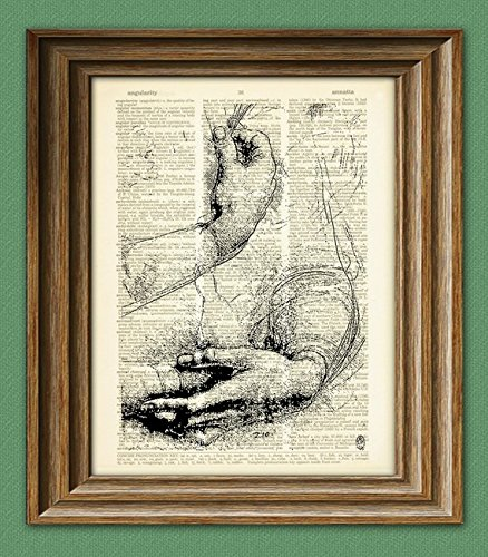 Study of Arms and Hands from Leonardo da Vinci sketch on vintage dictionary page book art print Davinci