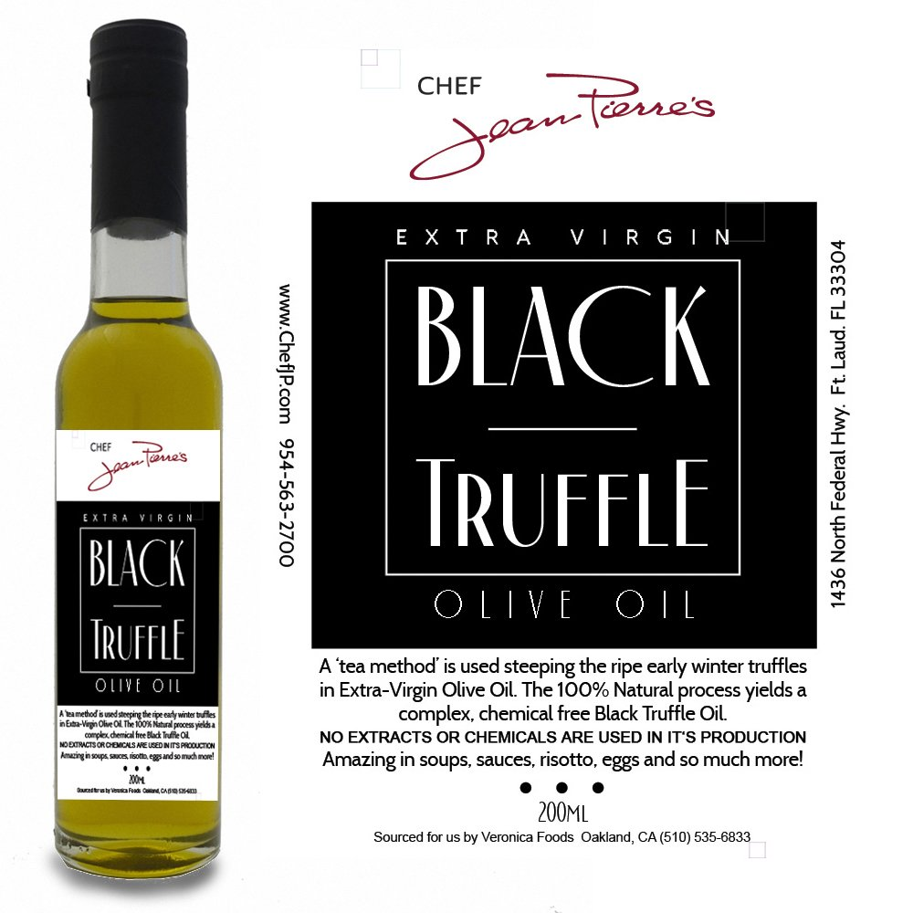 Black Truffle Oil SUPER CONCENTRATED 200ml (7oz) 100% Natural NO ARTIFICIAL ANYTHING by Chef Jean-Pierre's