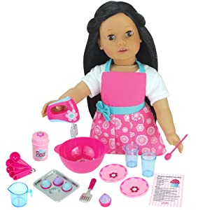 Sophia's 18 PC. Set of 18 Inch Doll Clothes Apron Plus Baking Accessory Set for Girl Dolls, Mini Doll Food & Apron Cookware Set Perfect for Your American Doll & More!