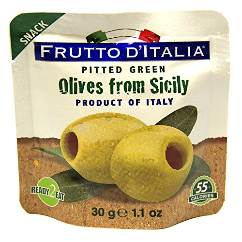 Green Pitted Olives in Pouch, 1.1 Ounce (Pack of 10)