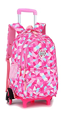e8b50f03de Belify Kids Rolling Backpacks Luggage Six Wheels Unisex Trolley School Bags  Climbing Stairs Red Rose For Girls  Amazon.co.uk  Clothing
