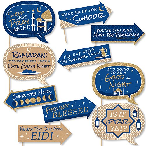 Funny Ramadan - Eid Mubarak Photo Booth Props Kit - 10 Piece
