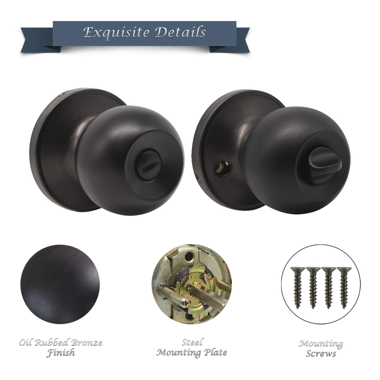 Antique Ball Privacy Door Knob, Solid Steel Doorknob, Interior Door Knobs for Storeroom Bedroom Bathroom, Interior Door Use, Oil-Rubbed Bronze KNOBWELL